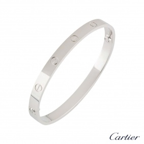 Cartier White Gold Plain Love Bracelet Size 21 B6035421